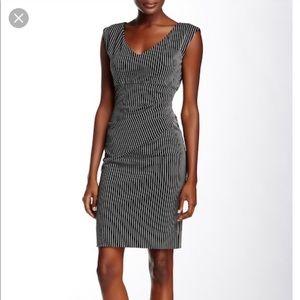 DVF Bevin B & W Pinstriped Ruched Sheath Dress